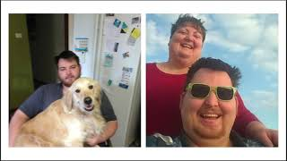 on the left, indoor photo of a man with a beard sitting on a kitchen floor holding a large golden retriever dog who is smiling at the camera. On the right a selfie style outdoor pohot of the man in sunglasses and trimmed hair and beard, with a siling woman behind him.